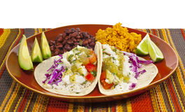 Fish Tacos Meal. A meal of fish tacos with black beans and Mexican rice stock photo