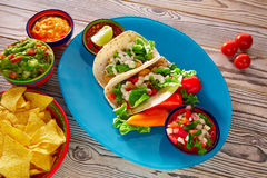 Fish tacos mexican food guacamole nachos and chili Stock Photography