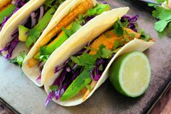 Fish tacos with red cabbage lime slaw Royalty Free Stock Photo