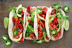 Fish tacos with watermelon salsa and avocados, on metallic background. Spicy fish tacos with watermelon salsa and avocados, above view on rustic metallic royalty free stock photo