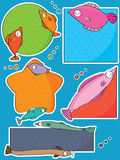 Fish Tag Price. Illustration of design fish tag sticker price set on blue background Stock Image