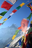 Fish tail moutian top on a bluebird day. Annapurna base camp prey flags nepal Royalty Free Stock Photography