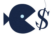 Fish taking the bait. Fish biting the hook with appearance money Stock Photography