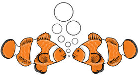 Fish talk 3. Two orange fishes talking in bubbles under water Royalty Free Stock Photos