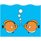 Fish talk. Tow orange fishes under the sea Stock Photos