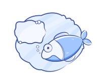 Fish Talk. Bubble Chat Sign. Fish Talk. Blue Bubble Chat Sign.  Illustration Stock Photo