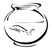 Fish tank. With fish drawn in a simple way Stock Photo