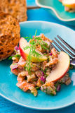 Fish tartare  with apple on a blue plate. Stock Photo