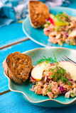 Fish tartare  with apple on a blue plate. Royalty Free Stock Photo