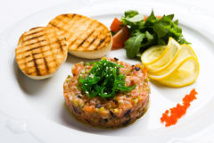 Fish tartare with vegetables and crackers Stock Image