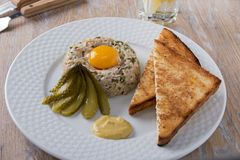 Fish tartare with yolk and toast on a plate Royalty Free Stock Photography