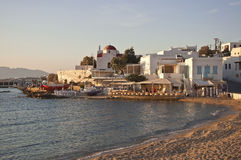 Fish taverna on the sea shore of the bay Mykonos Stock Photo