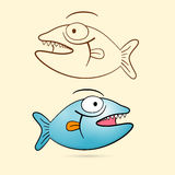 Fish With Teeth Set Royalty Free Stock Image