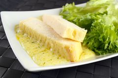 Fish terrine. Made from pike perch with sausage and lettuce Royalty Free Stock Photos