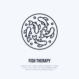 Fish therapy vector line icon. Spa peeling service flat logo. Natural skin treatment vector illustration