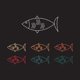Fish thin line icon color. Eps 10 Royalty Free Stock Photography