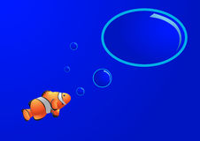 Fish with think bubble. Fish with blue background and think bubble Stock Image
