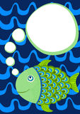 Fish with thought bubble greeting card. Invitation card with a thinking fish on the water. Space to put text inside the bubble Stock Photography