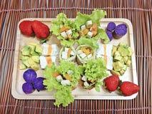 Fish tofu salad with avocado salad Stock Photo