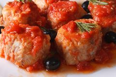 Fish in tomato sauce with olives on a plate macro horizontal Stock Image