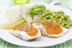 Fish with tomato sauce and vegetables closeup Royalty Free Stock Photography