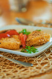 Fish and tomatoes in plate Royalty Free Stock Photo