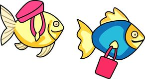 FISH WITH TOTE BAGS Stock Photography