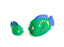 Fish toys. Close up, isolated over white Royalty Free Stock Photos