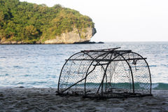 Fish trap on the beach Stock Photo