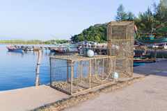 Fish trap cages for trapping aquqtic animals Royalty Free Stock Images