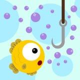 Fish trap. An illustration of a curious fish staring at a fish hook Royalty Free Stock Photos
