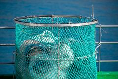Fish trap at the port stock photos
