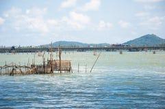 Fish trap in the sea Stock Photos
