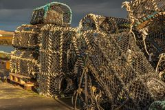 Fish traps, seen in Seahouses, England, UK stock photo