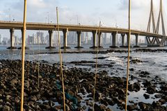 Fish traps in Mumbai. royalty free stock photos