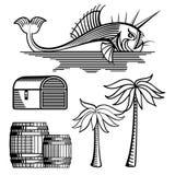 Fish, treasure chest, barrels and palm tree vector illustration
