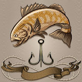 The fish and treble hook. Illustration with huge fish and treble hook above the ribbon and rope against wavy pattern drawn in retro style with use sepia palette vector illustration