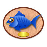 Fish trophy hanging on the board. Stock Photo