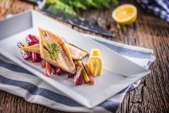 Fish Trout. Portion Smoked Fillet Trout With Vegetable Dill And Royalty Free Stock Photo