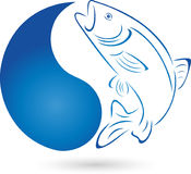 Fish, trout and water drops, fish and fishing logo Stock Photo