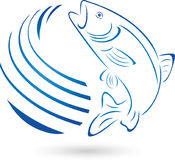 Fish, trout and water, fish and fishing logo Stock Image