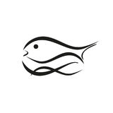 Fish, trout and waves, fish and fishing logo Stock Image