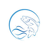 Fish, trout and waves, fish and fishing logo Stock Photos