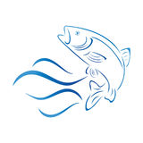 Fish, trout and waves, fish and fishing logo Stock Photo