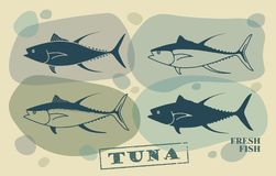 Fish tuna. Vector stylized icons. A stylized image of a tuna fish done in retro style Stock Images