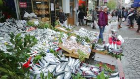 Fish Turkish market street. Istanbul, Turkey - November 15, 2014: Sellers are offering Horse Mackerel fish to the tourists at a Turkish market street stock video