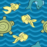 Fish and  turtle in wave seamless pattern Royalty Free Stock Photo