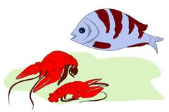 Fish and two lobsters Royalty Free Stock Photography