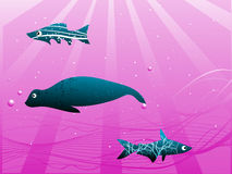 Fish under water. With falling sun rays on purple background vector illustration