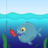 Fish under water on the hook with a label sales. Business concept and sales. Vector illustration Royalty Free Stock Photos